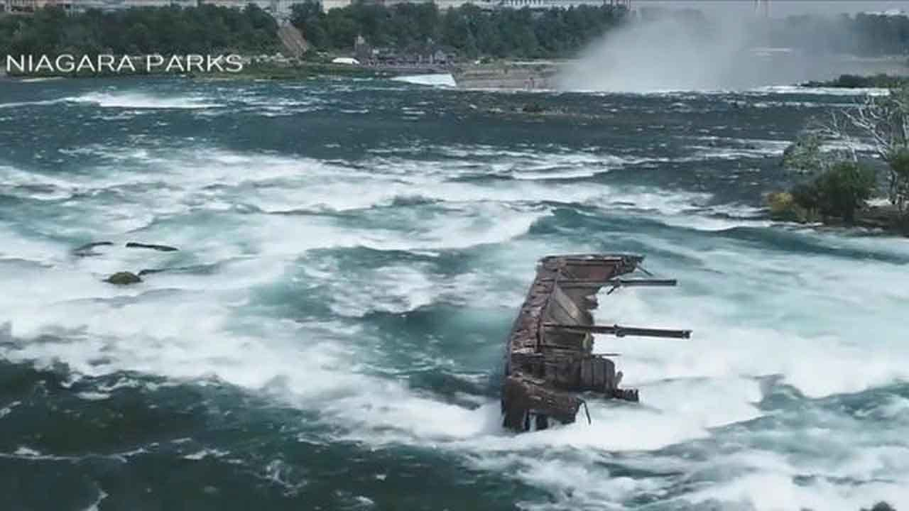 Powerful Storm Dislodges Boat Trapped On Rocks Above Niagara Falls For 101 Years