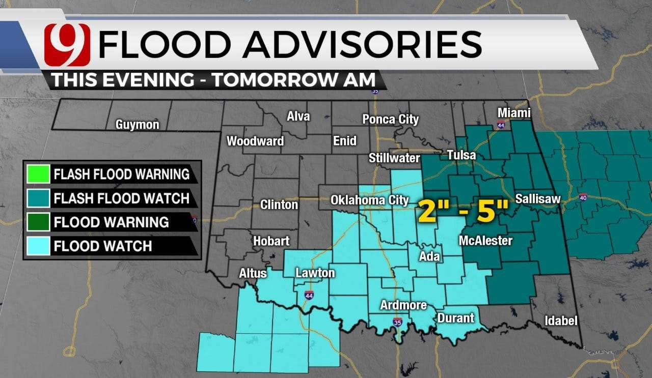 Okla. To See Potentially Severe Storms Wednesday Into Thursday, Flood Advisory Issued