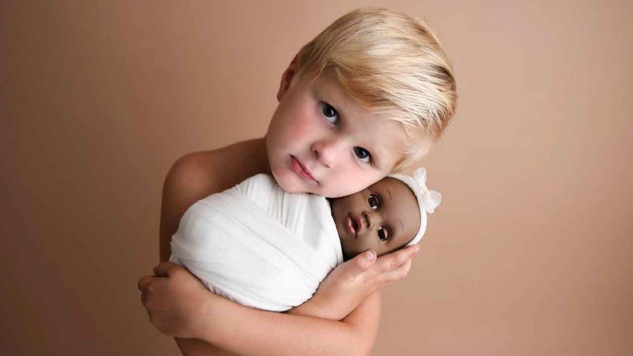 4-Year-Old Has Photoshoot With Beloved Baby Doll He Got When His Dad Was Deployed