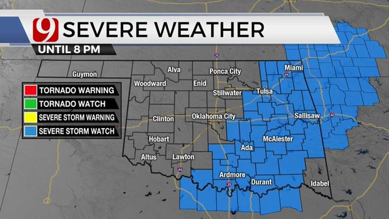 Severe Thunderstorm Watch Issued For Eastern, SE Oklahoma