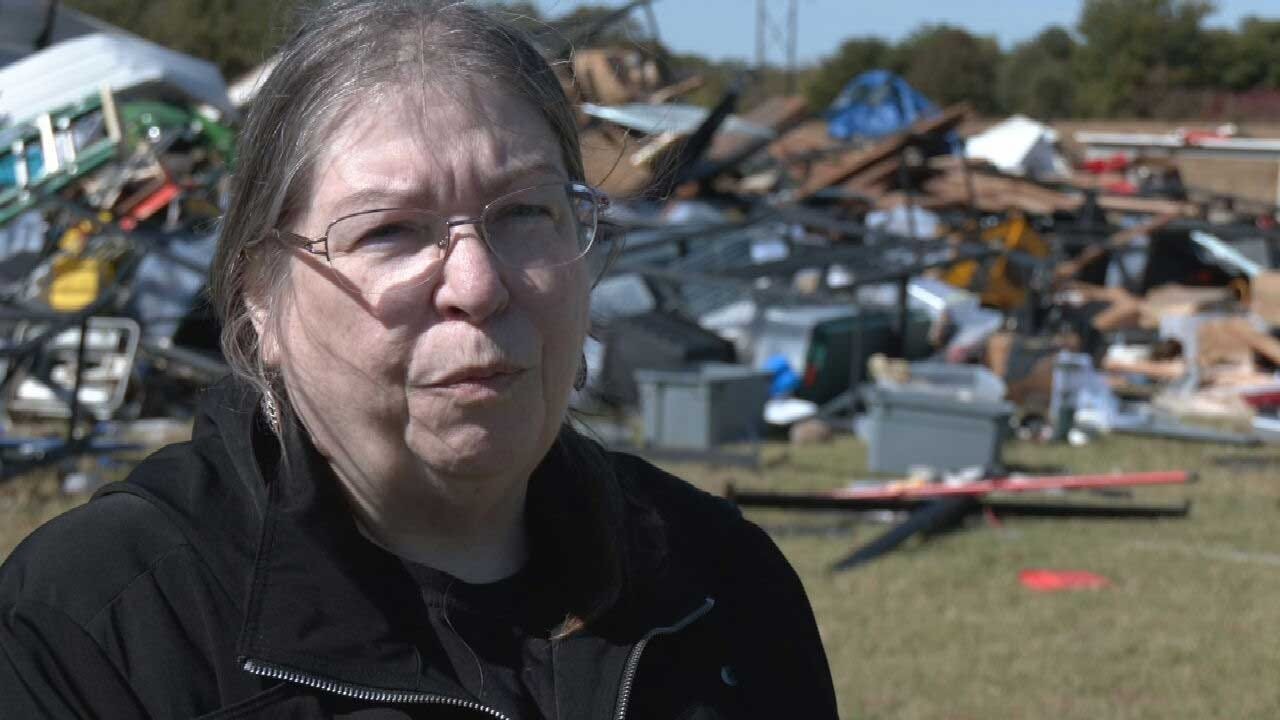 Clean Up Continues In Asher Following Tornado