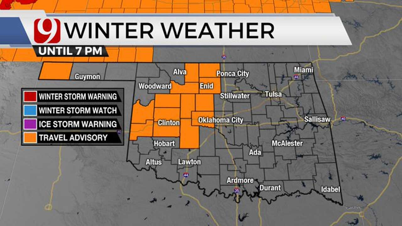 Winter Weather Travel Advisory Issued For Parts Of W Central/N Central Okla. Tuesday
