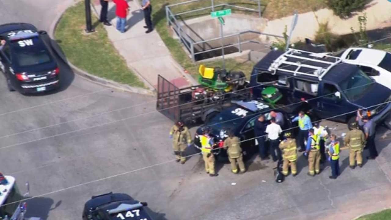Emergency Crews Respond To 3-Vehicle Crash Involving Officer In SW OKC
