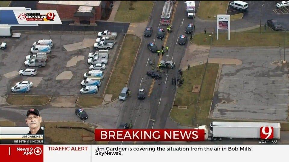 OKC Police Officer Breaks Arm After Multiple-Vehicle Crash In NE OKC