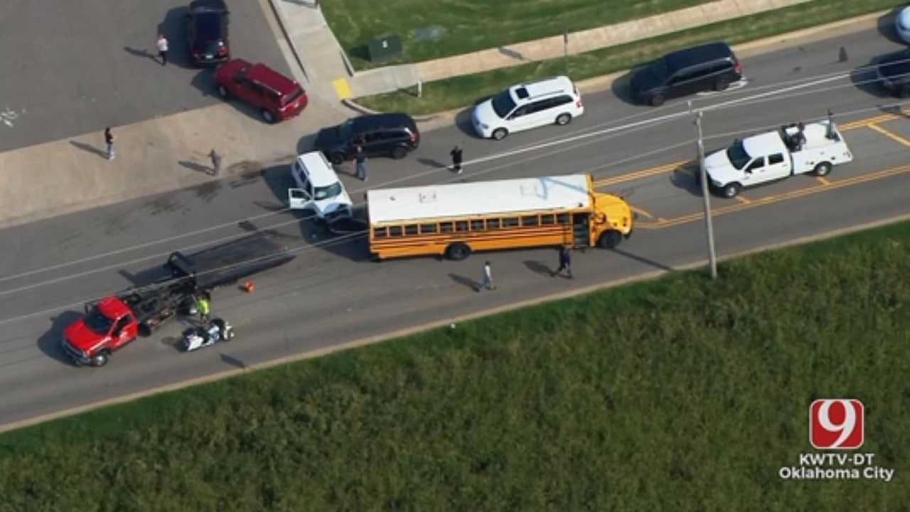 Emergency Crews Respond To Crash Involving School Bus Near Edmond Middle School