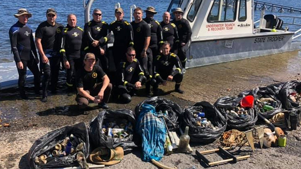 OHP Dive Team Recovers Nearly 200 Pounds Of Trash From Party Cove At Lake Tenkiller