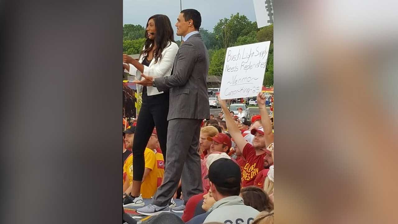 A College 'GameDay' Fan's Clever Sign Got Him A Lot Of Beer Money. Now He's Donating It All.
