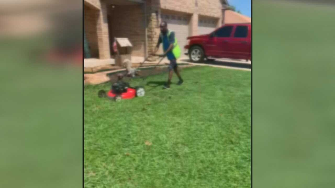 Oklahoma Amazon Driver Steps In To Help After Seeing Teen Struggle To Mow Lawn