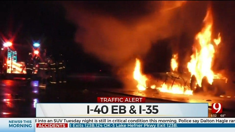 Traffic Backed Up On I-40 Near I-35 After Semi-Truck Catches Fire