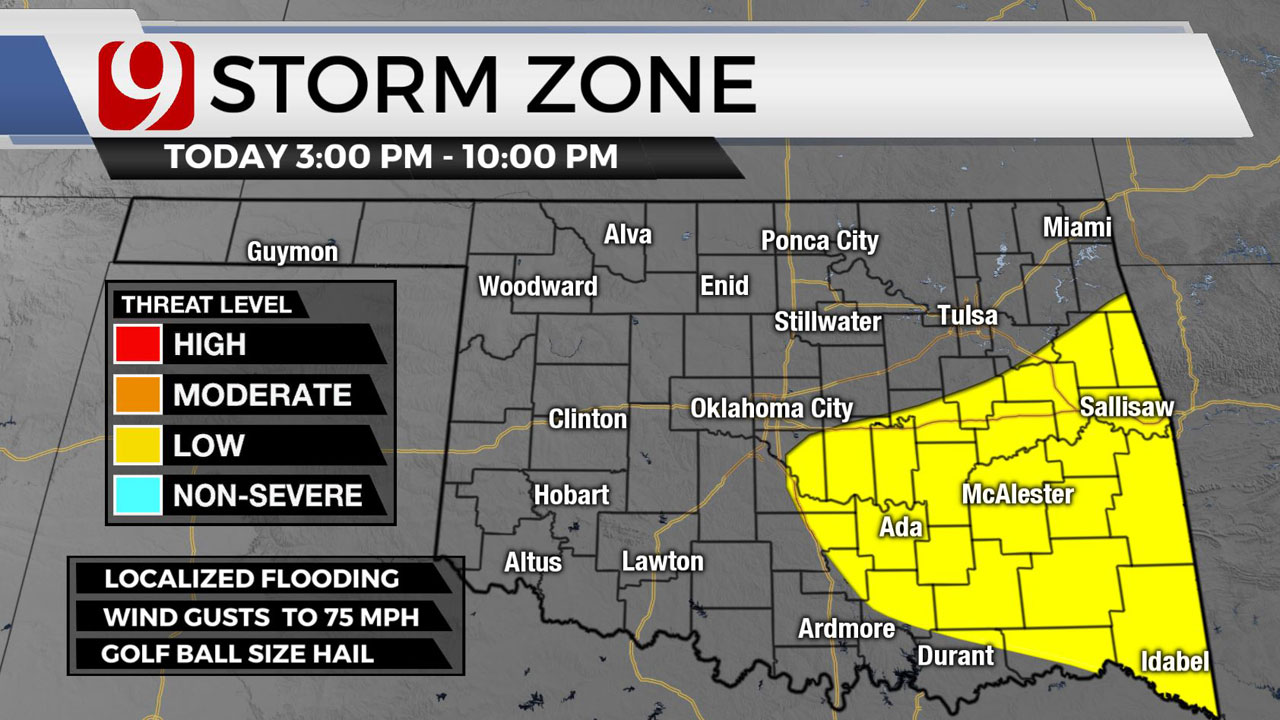 Okla. To See Chance of Showers, Possible Severe Storms Tuesday