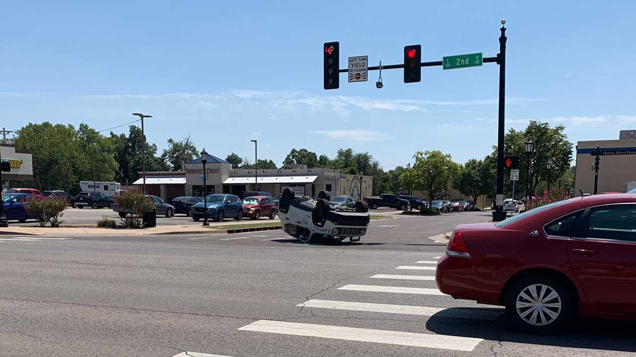 Police Investigate Rollover Crash In Edmond Involving City Maintenance Vehicle