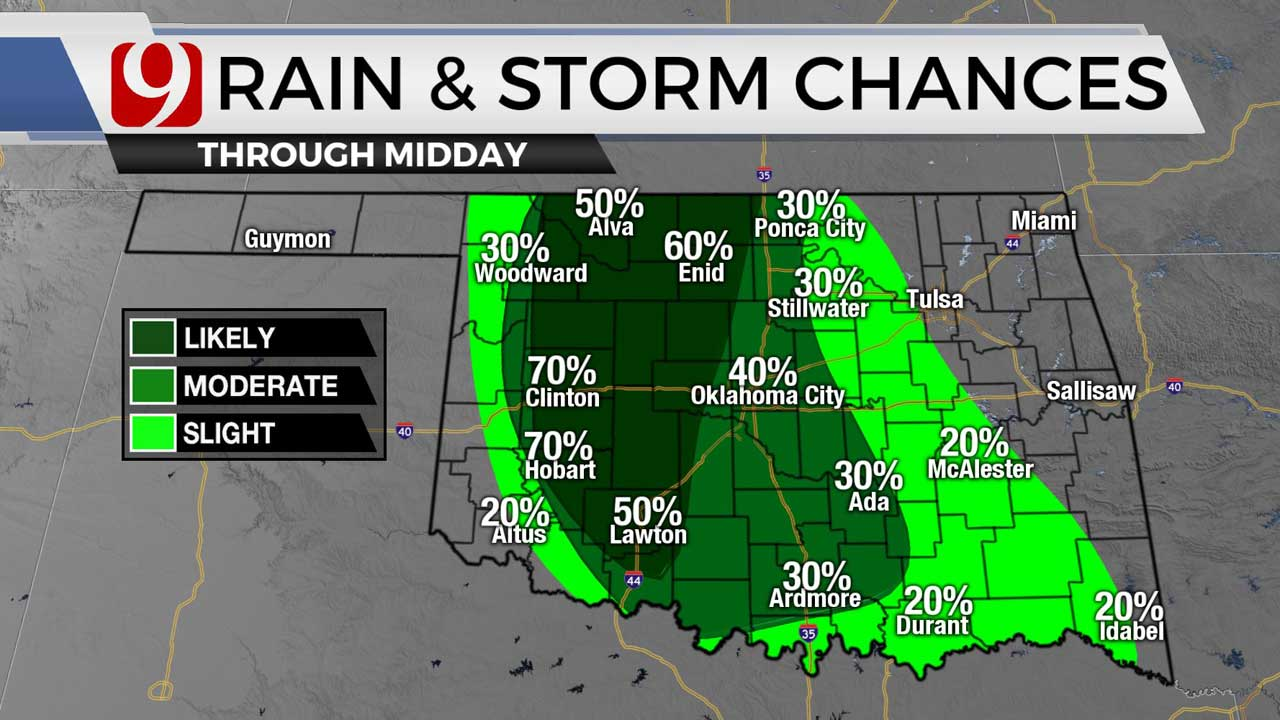 Beautiful Temperatures Before Showers, Storms Make Way Toward Central Okla.