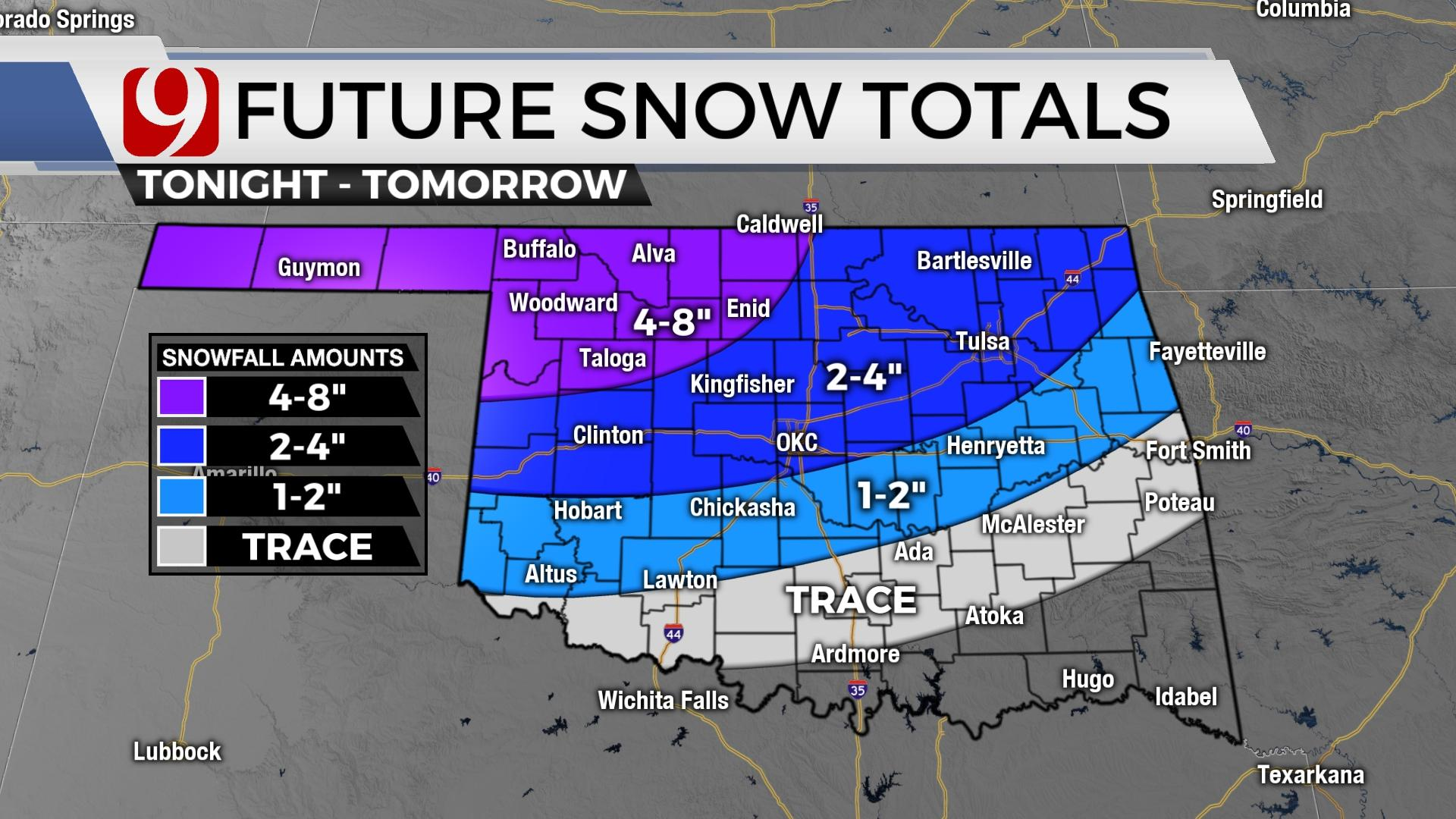 Snowfall Expected As Winter Weather System Moves Through Oklahoma