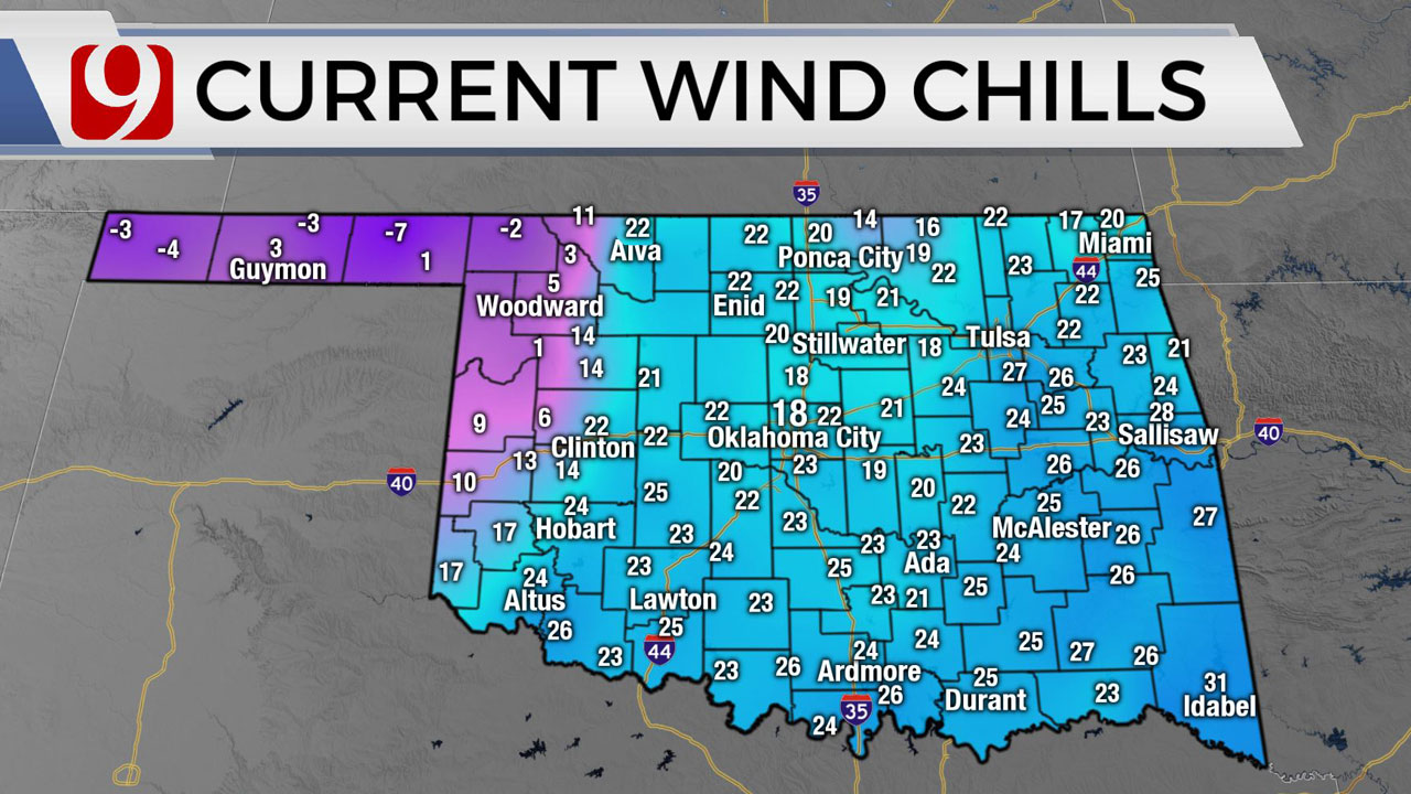Okla. Sees Cold Start, Wind Chills In The Teens