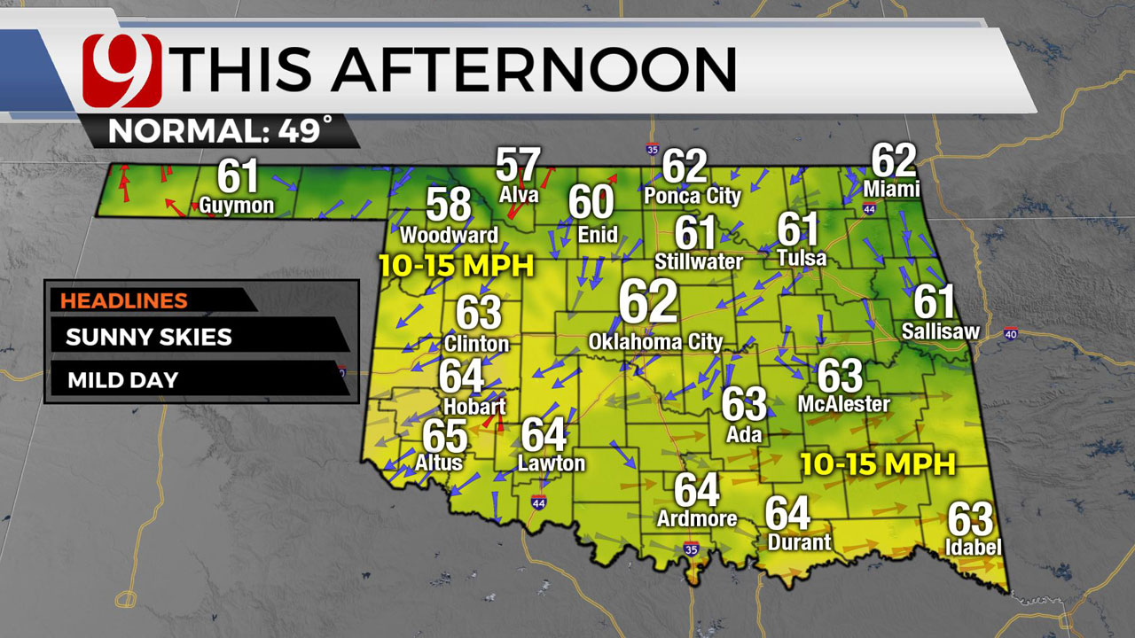 Okla. Sees Clear Skies, Sunshine Ahead Of Midweek Cold Front