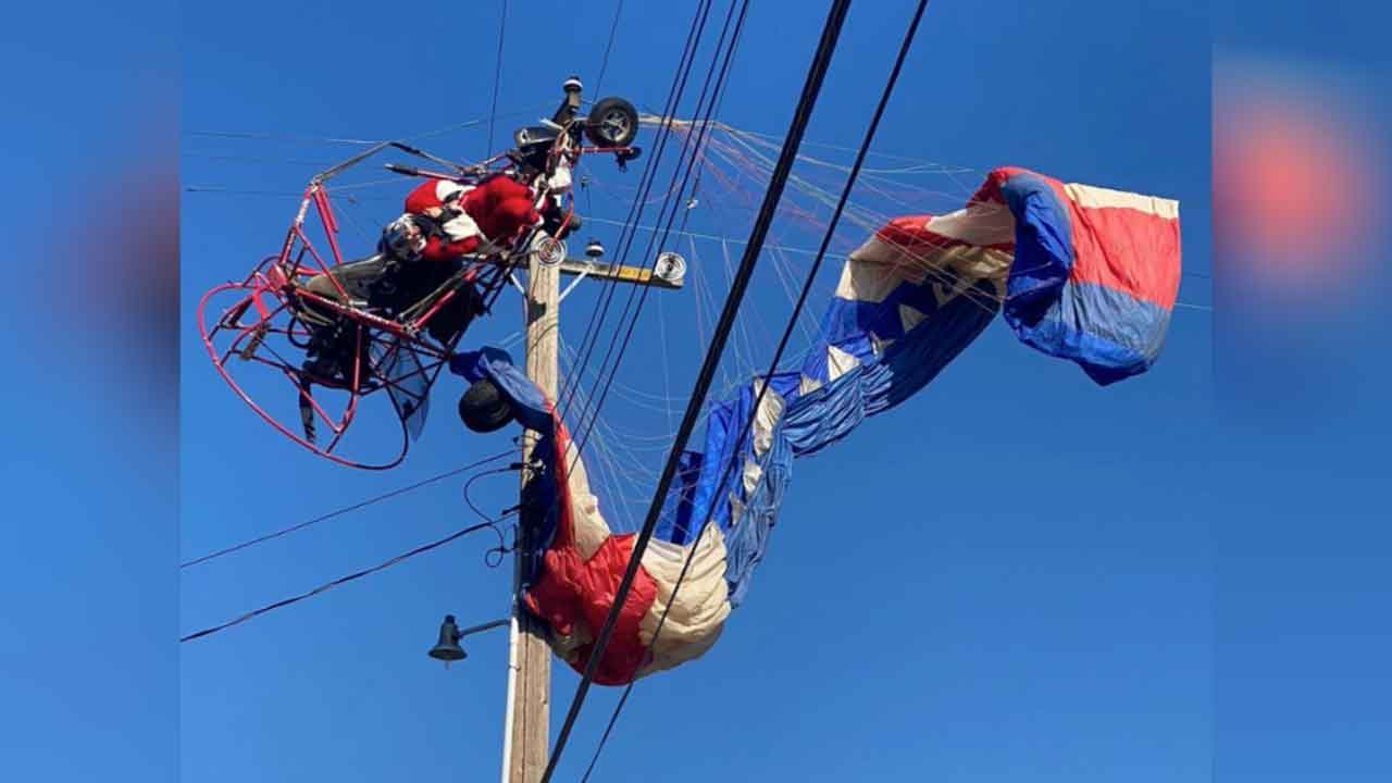 Paragliding Santa Claus Rescued After Getting Caught In Power Lines In California