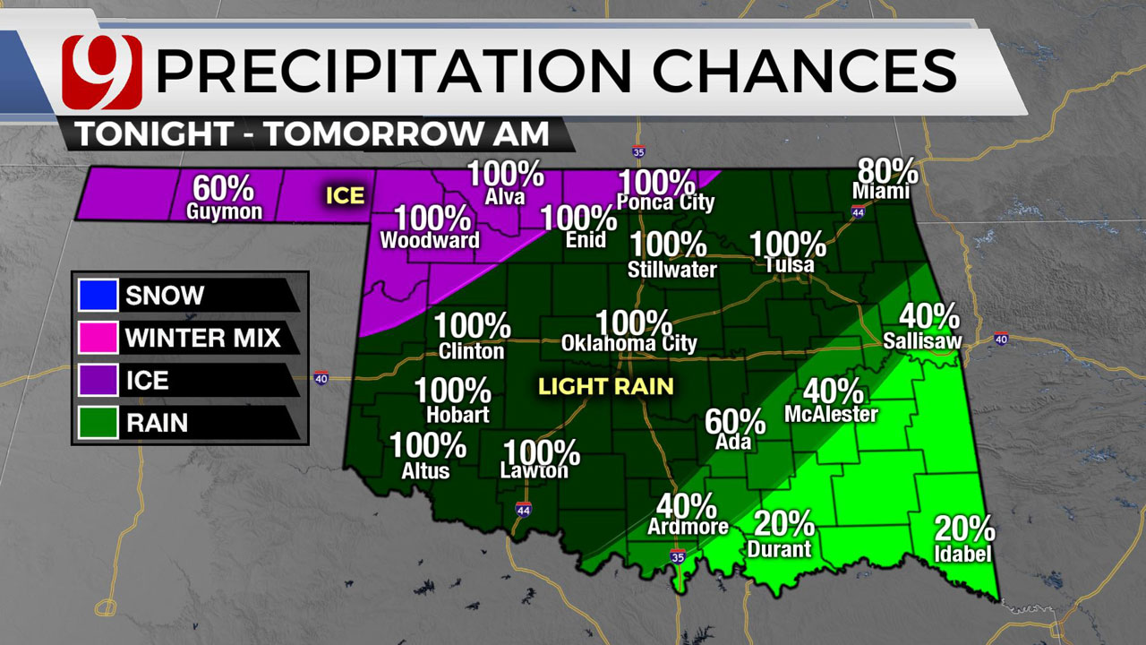 Okla. Sees Chilly, Cloudy Monday Ahead Of First Round Of Winter Precipitation