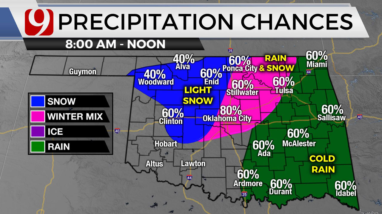 Central Okla. To See Sleet, Light Snow As Winter Storms Moves East