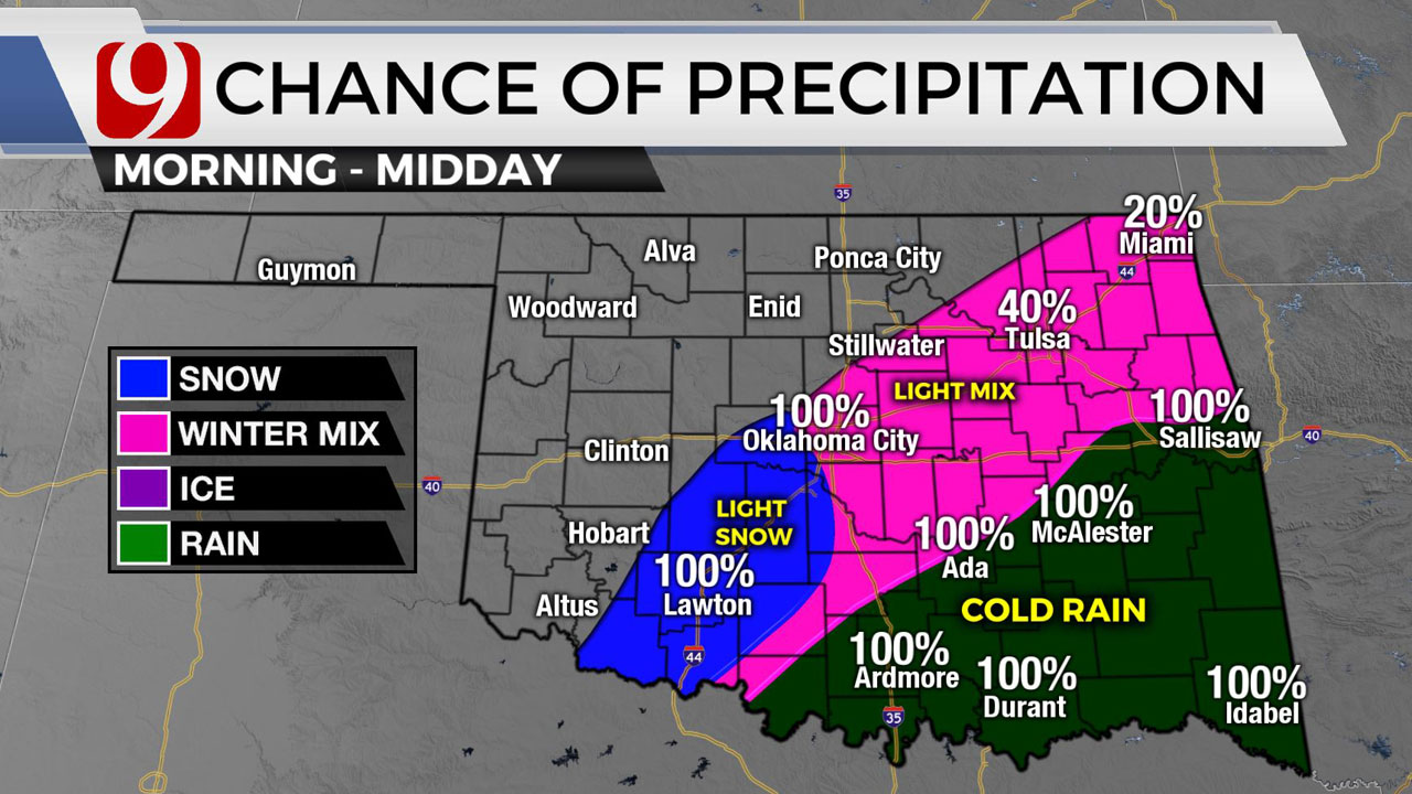 Okla. Sees Rain, Wind Ahead Of Possible Ice, Snow Thursday