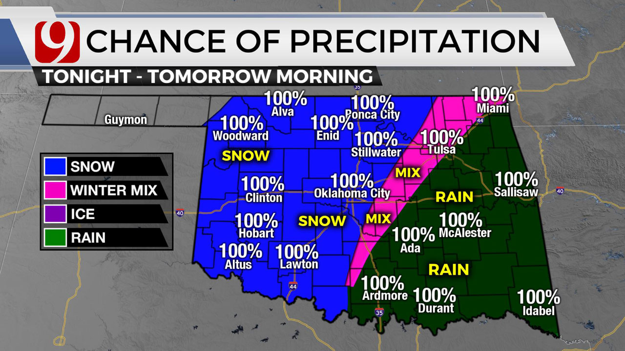 Winter Storm Warning Issued For Much Of Western, Central Oklahoma