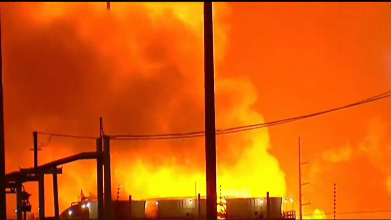 ExxonMobil Refinery Blaze Lights Up Night Sky