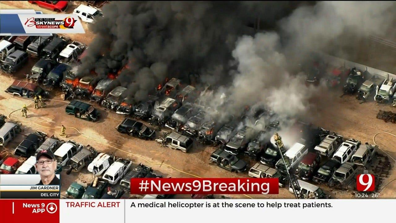 Firefighters Battle Blaze At Del City Junkyard