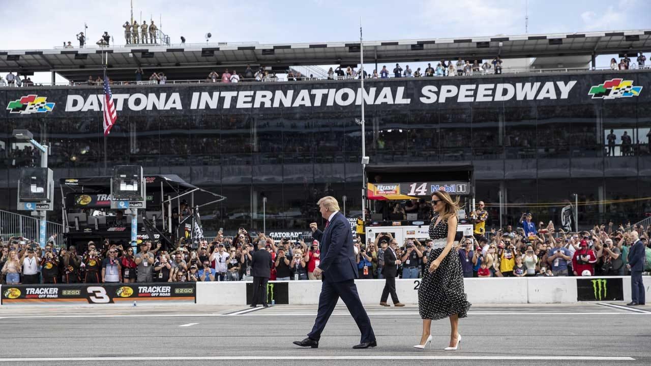 Trump Makes Daytona 500 Warmup Lap In Presidential Limousine