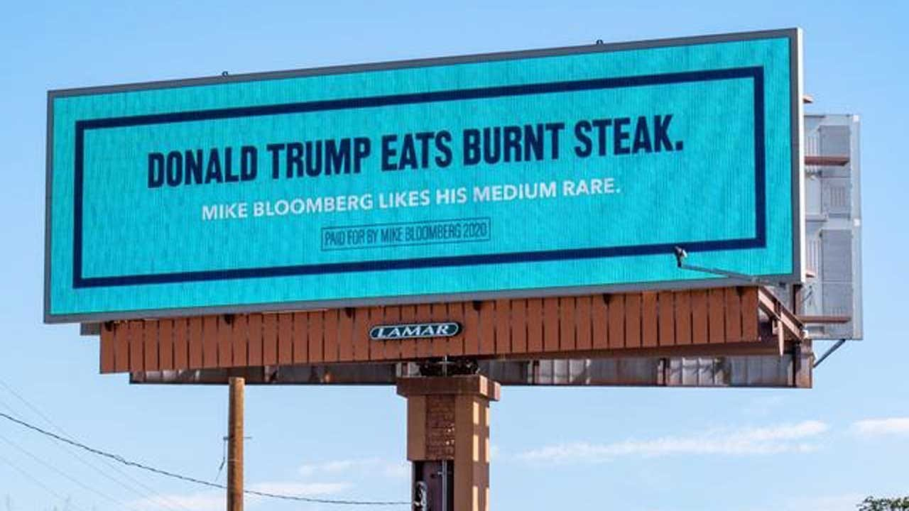 Mike Bloomberg Trolls Trump With Billboards As Trump Campaigns In West