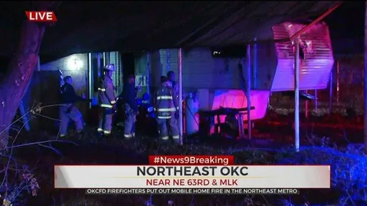 Firefighter Say NE OKC Mobile Home Total Loss Following Early Morning Fire