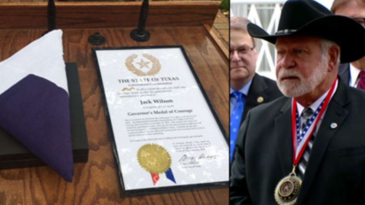 Texas Church Shooting Hero Receives Medal Of Courage From Governor Greg Abbott