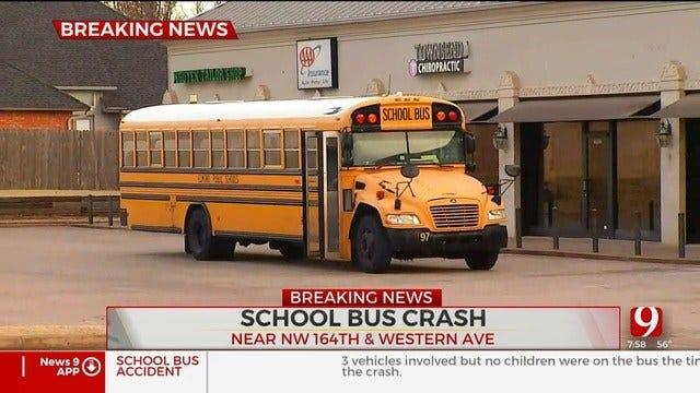 Emergency Crews Respond To Multi-Vehicle Crash Involving School Bus In NW OKC