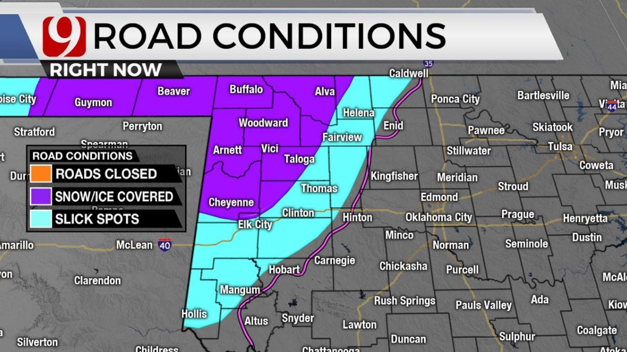 Drivers: Use Caution! Freezing Drizzle Causes Slick Roads In NW Okla.