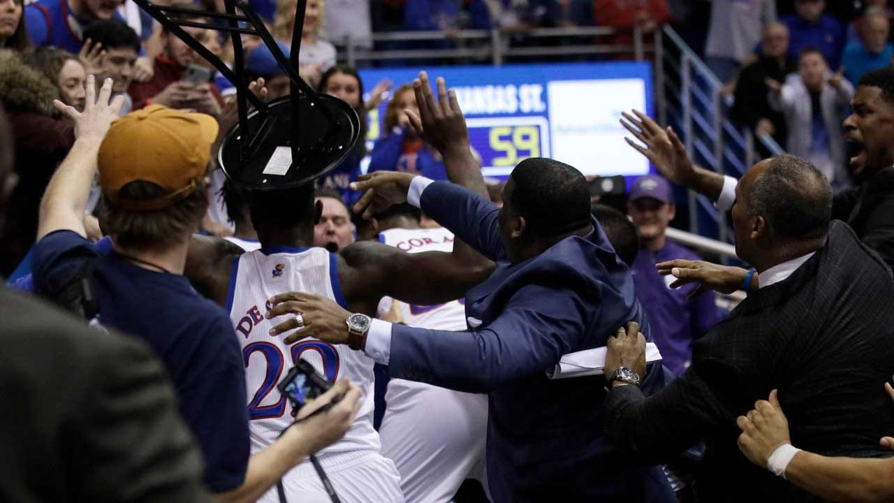 Kansas, Kansas State Basketball Game Ends In Brawl With At Least 1 Player Wielding Stool