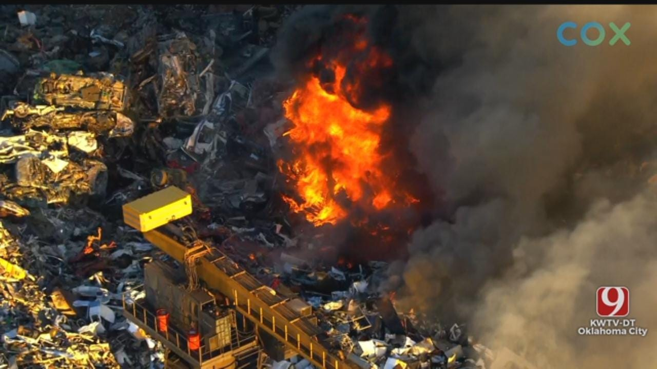 Firefighters Battle Fire At Recycling Plant Near Downtown OKC