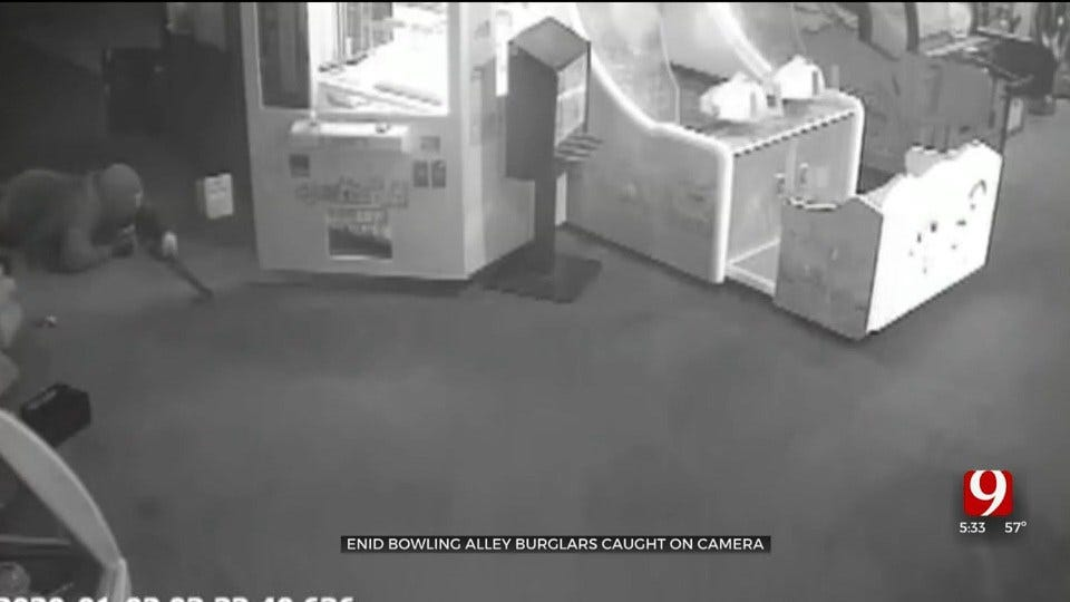 Surveillance Video Captures 2 Thieves Wanted For Alleged Enid Bowling Alley Break-In