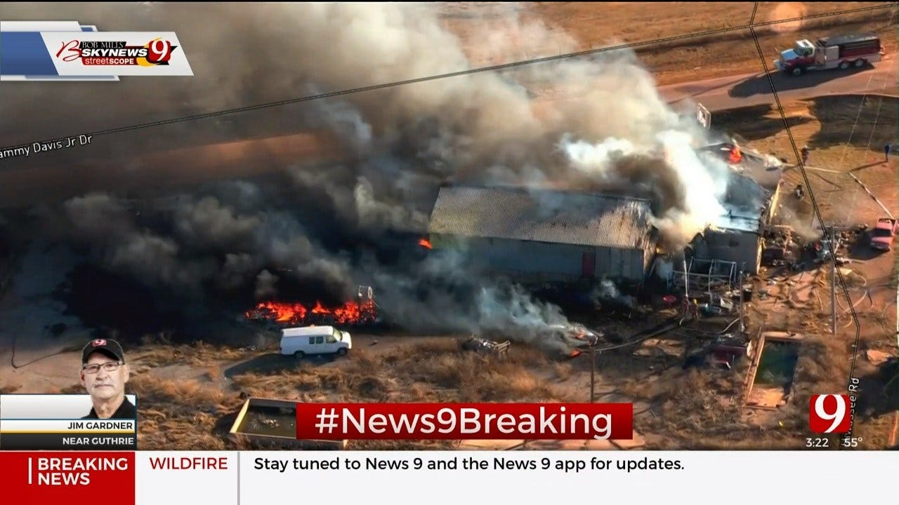 Structure Fire Spreads To Nearby Grass Northeast Of Guthrie