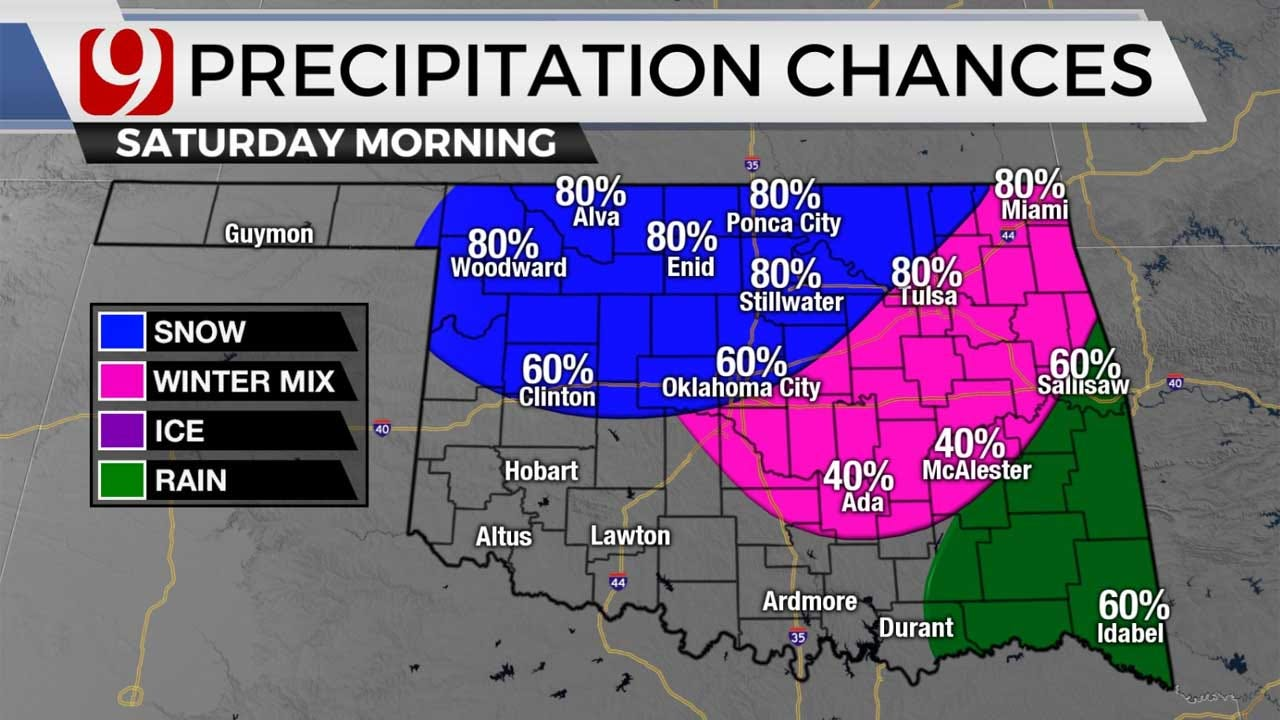 Severe Storms, Wintry Mix Possible In Oklahoma Friday Into Weekend