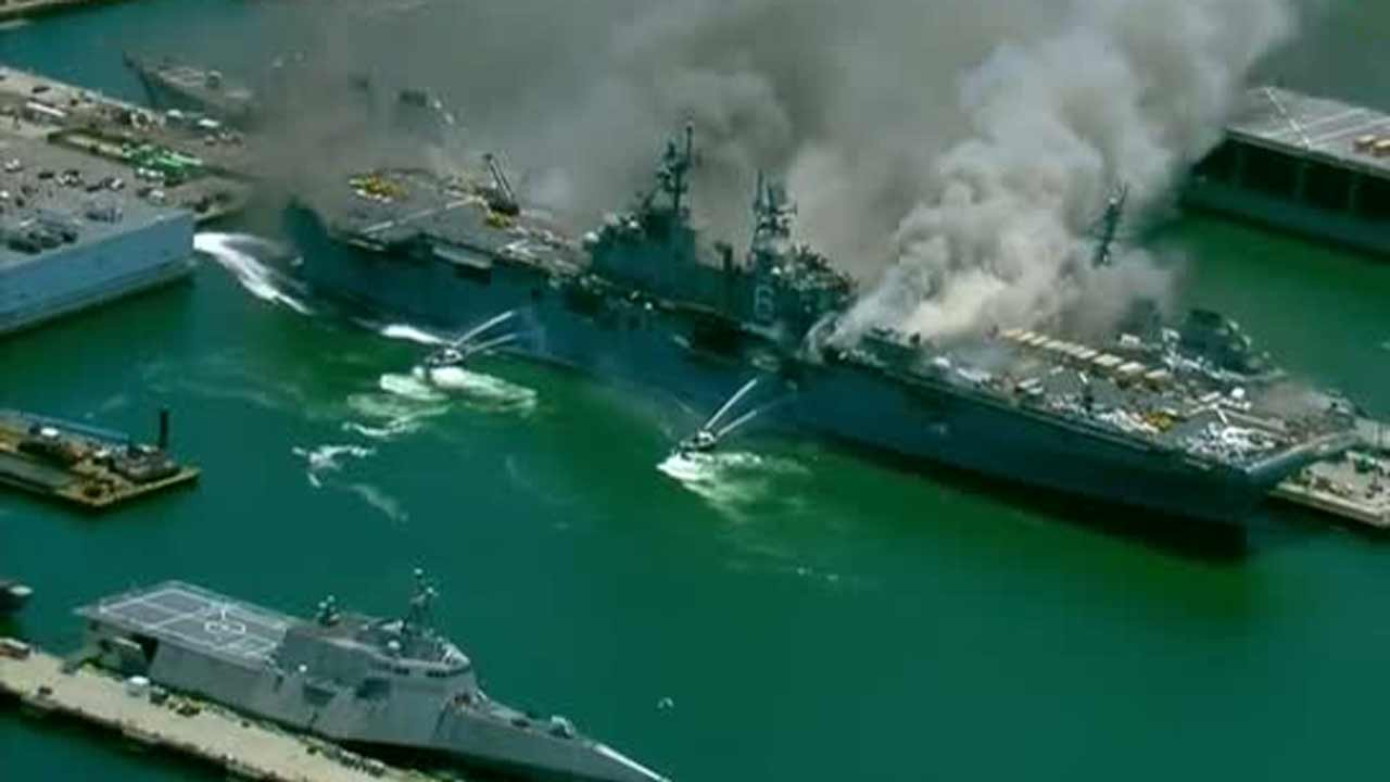 WATCH: Explosion Aboard Naval Ship Cause Large Fire