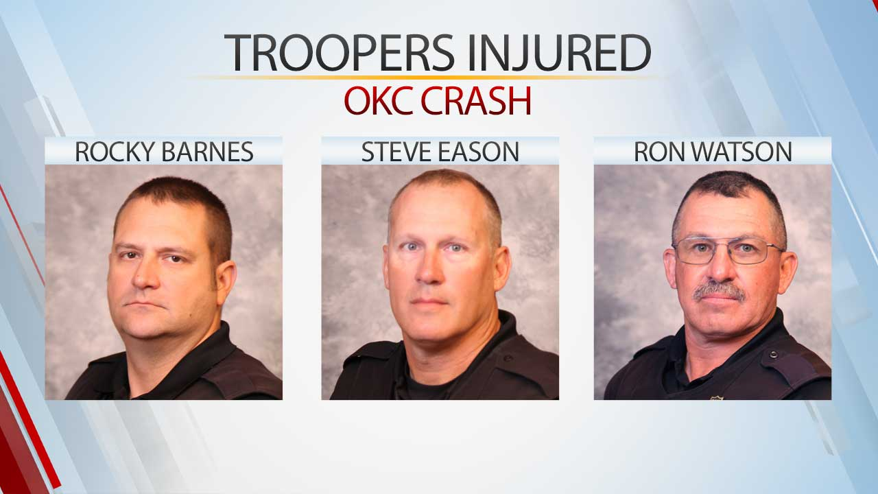 Multiple Troopers Injured In OKC Crash During  Motorcade Procession For Fallen Tulsa Police Officer