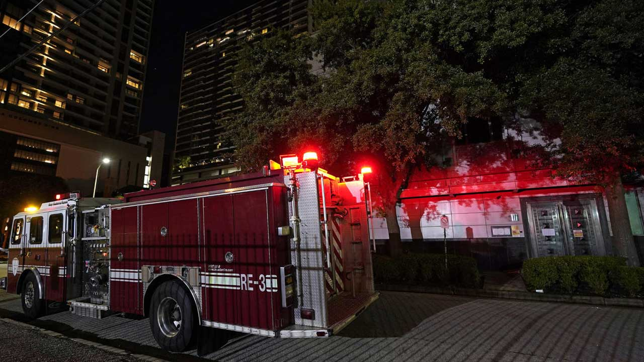 Fire truck outside Chinese Consulate in Houston