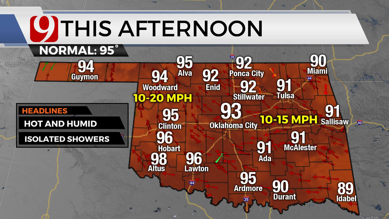 Temperatures In The 90's With Chances Of Isolated Storms
