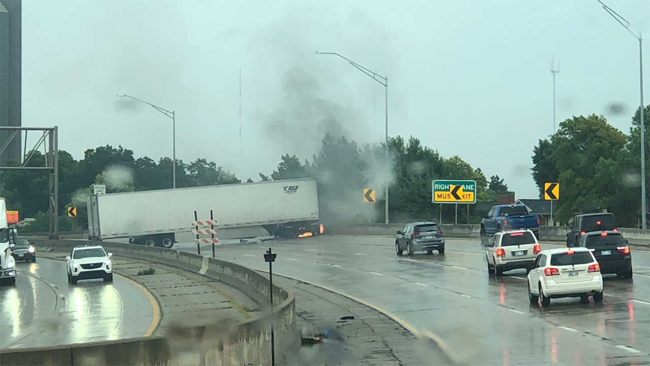Tractor-Trailer On Fire After Crash On I-44 Near Northwest Expressway Exit