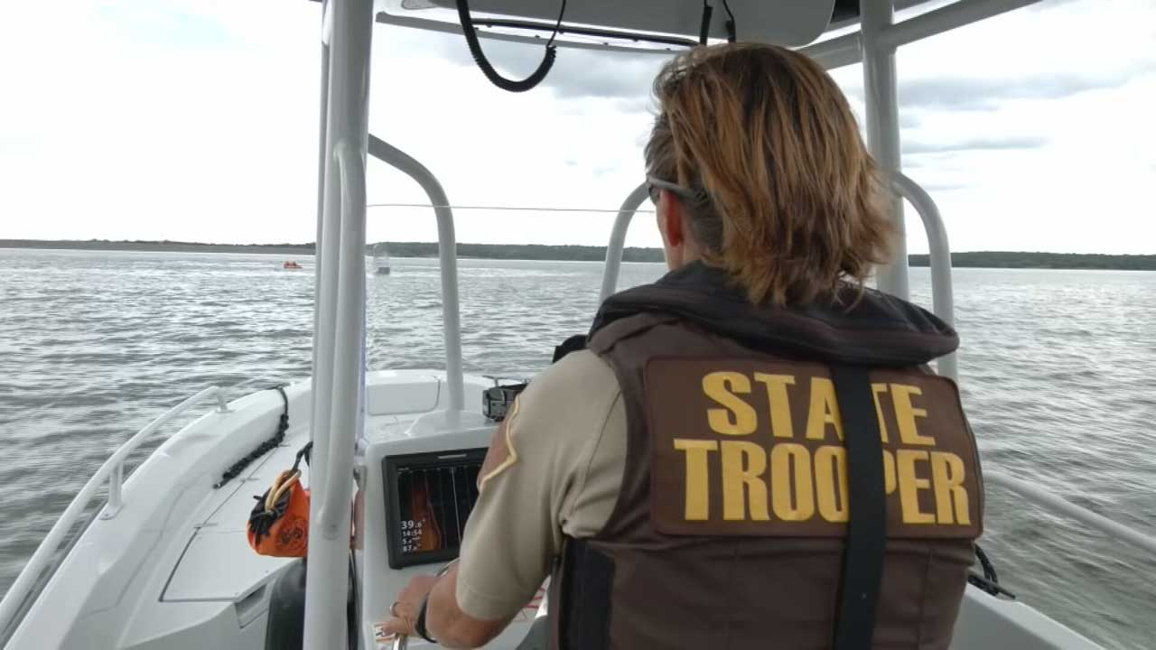 Trooper patrolling lake
