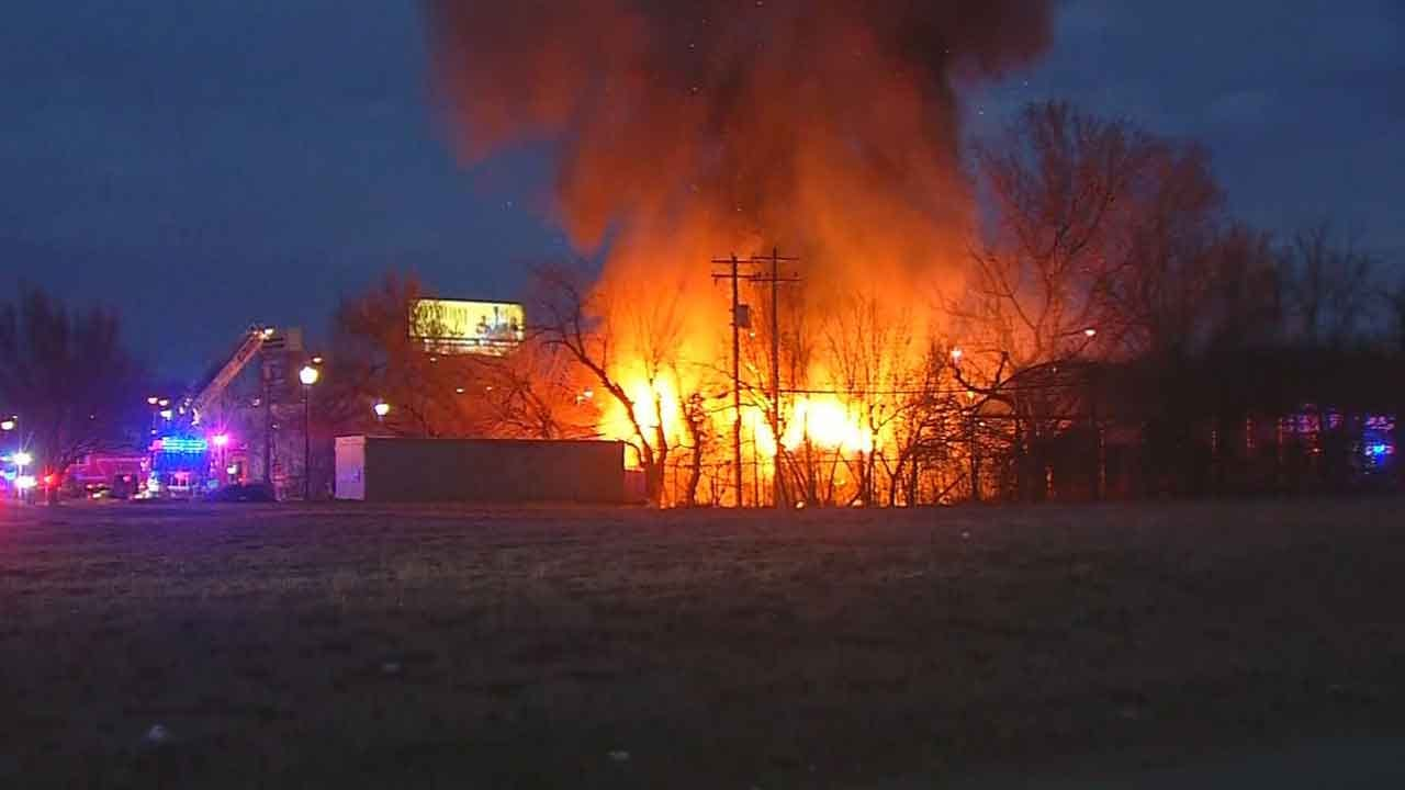 Crews Battle Commercial Fire At Old 'Horn Seed' Building In NW OKC