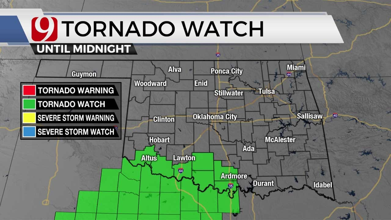 Tornado Watch Issued For SW Oklahoma Counties