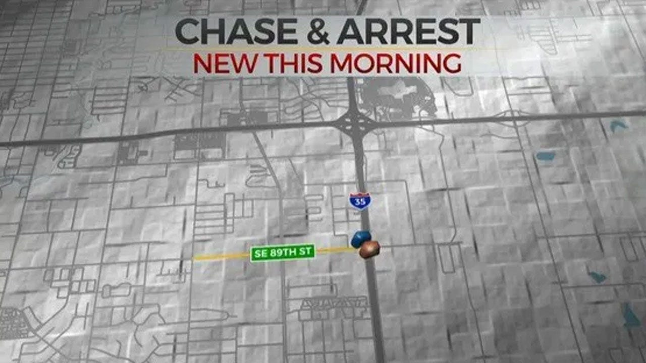 OKC Police: 1 In Custody Following Overnight Pursuit In Stolen Vehicle
