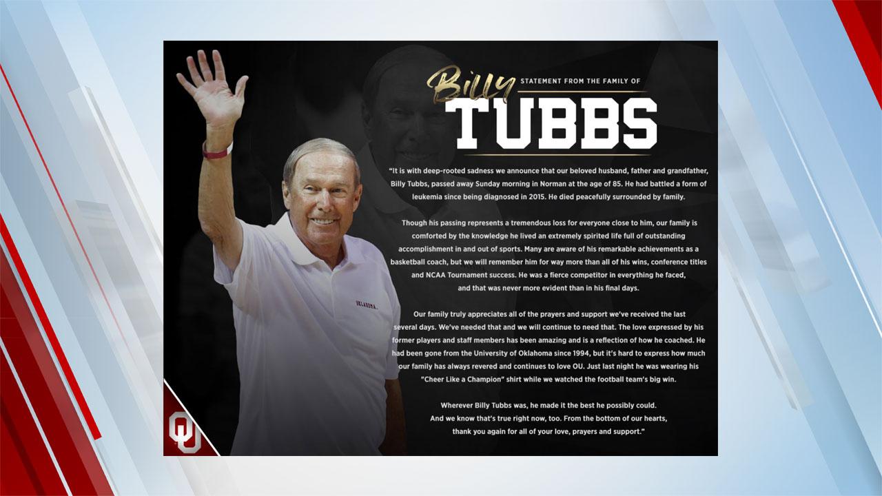 Billy Tubbs Nov. 1, 2020