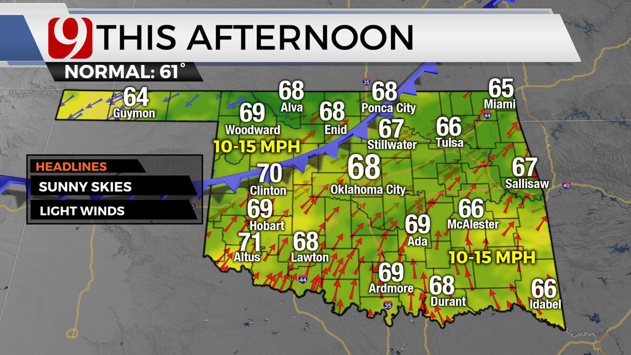 Okla. To See Clear, Sunny Skies & Mild Temps Monday