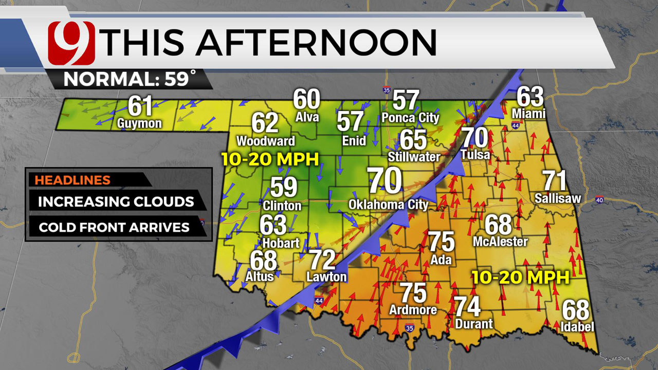 Cold Front Moves Into Okla. Friday