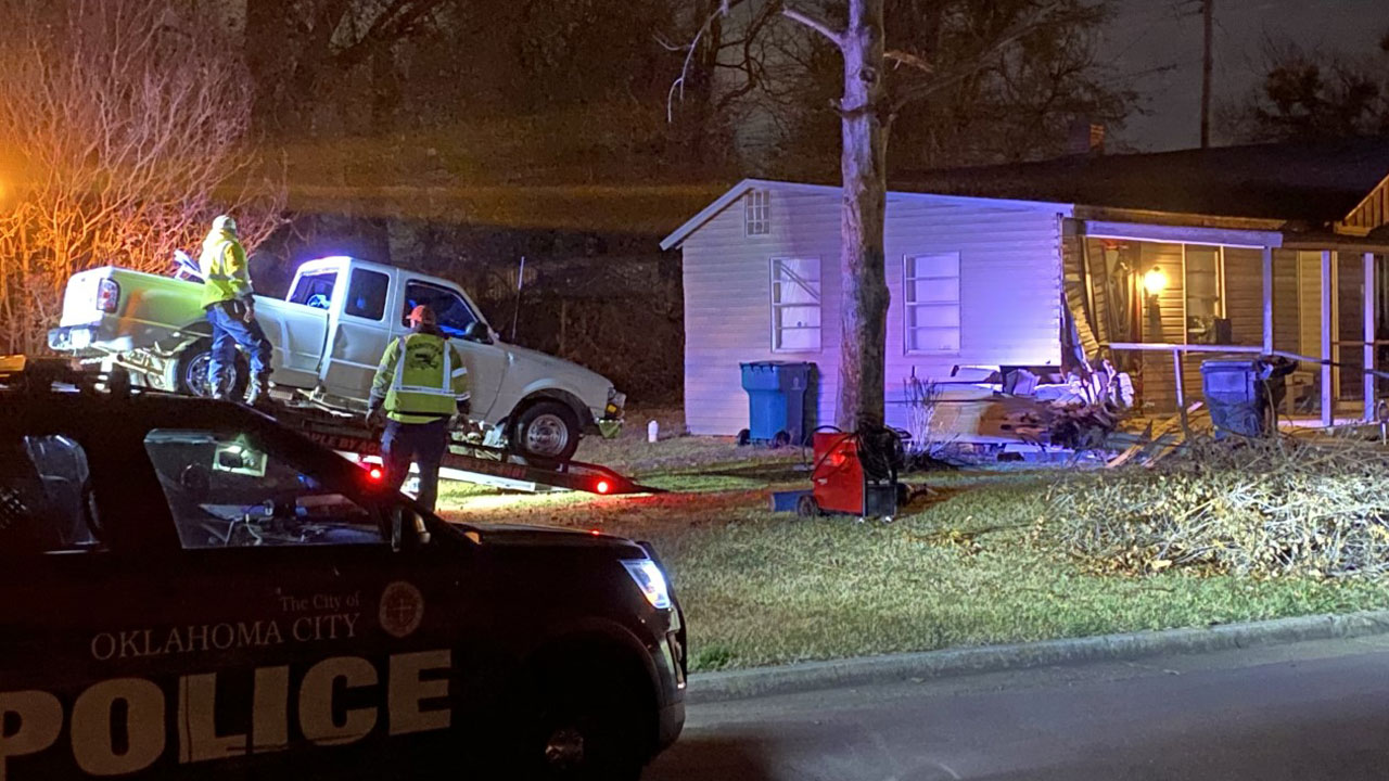Truck Crashes Into SW OKC Home Following Overnight Pursuit